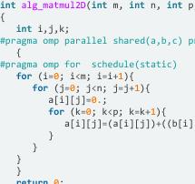 A key algebraic code: Parallel matrix matrix multiplication