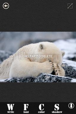 Menú de añadir texto a fotos de la app FontGram