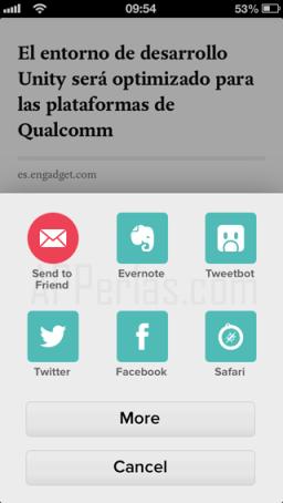Compartir contenido en Pocket app