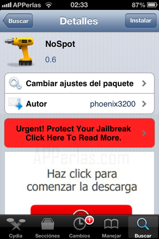 Tweak para eliminar spotlight en iPhone