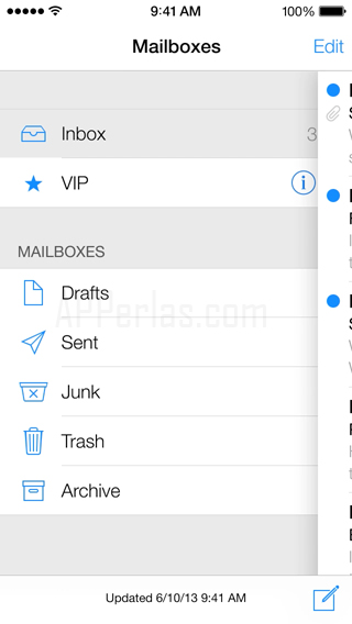 Mail del nuevo ios 7