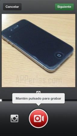 pulsar para grabar vídeo en instagram
