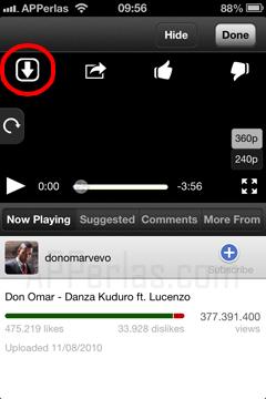 Botón para descargar vídeos de Youtube