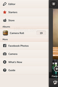 Opciones de app de retoques de fotos