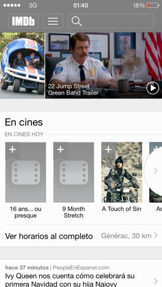 IMDb para ios 7 en iPhone y iPad
