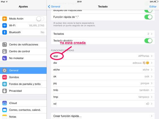 Crear funciones rápidas en el iPhone, iPad