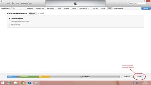 Pasar fotos al iPhone desde iTunes