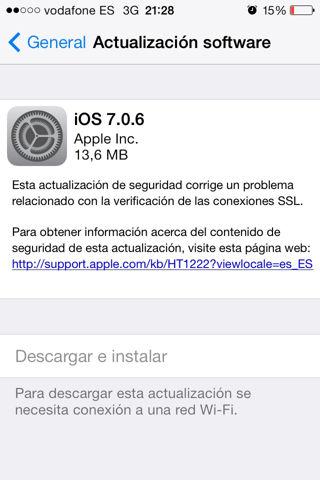 actualización iOS 7.0.6