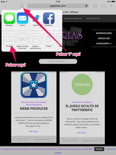 añadir favoritos en Safari para iPad
