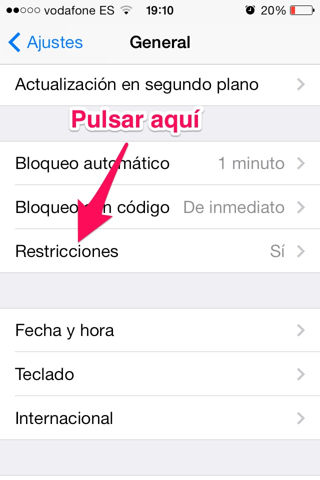 activar restricciones en iPhone