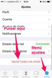 Aumentar memoria en el iPhone eliminando chats de Whatsapp