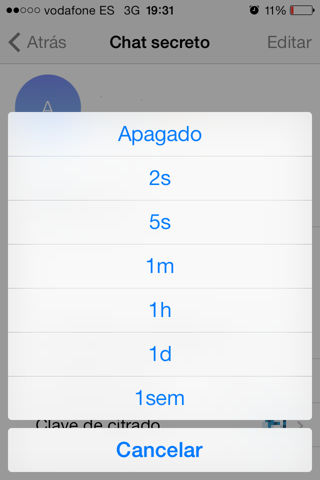activar autodestrucción telegram Mac