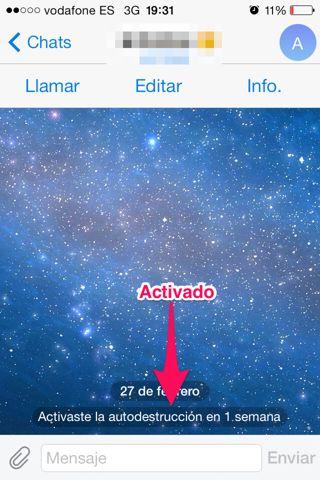 activar autodestrucción en Telegram para Mac