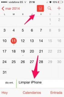 opinión de iOS 7.1 calendario