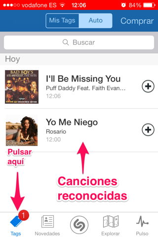 auto shazam en iPhone, iPod