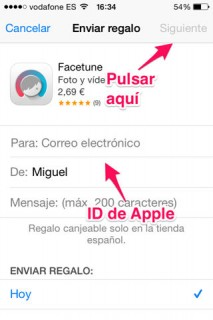 regalar apps ID de Apple