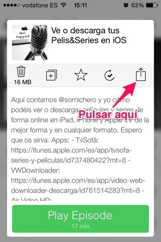 enviar podcast por Whatsapp en iPhone 2
