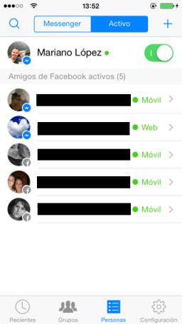 Mensajes de Facebook para iPhone y iOS