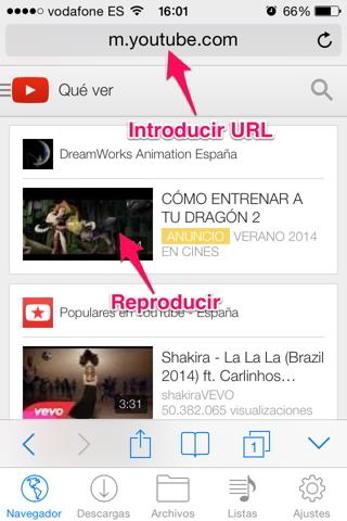 vídeos de youtube en iPhone 1