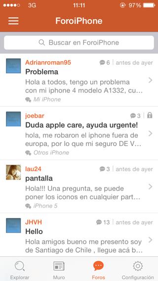 App de foros para dispositivos iOS