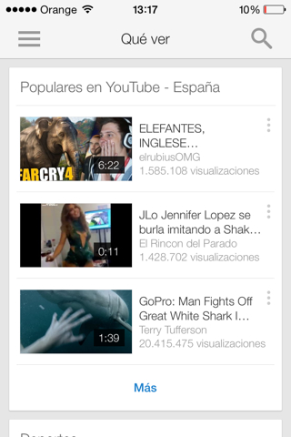 Youtube Pantalla principal