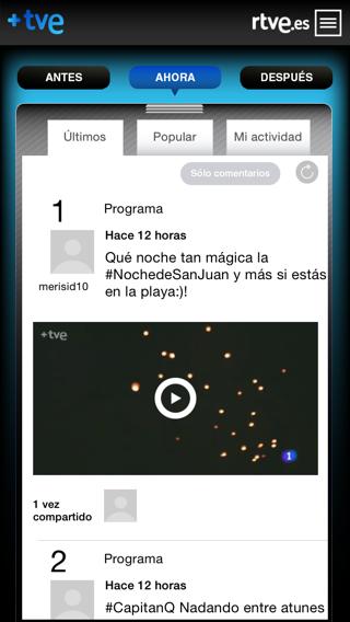 Interactuar en canales de TVE