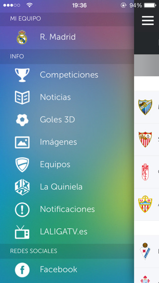 Liga de Fútbol Profesional Menú