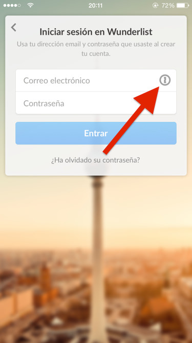 Cómo entrar en Wunderlist usando 1Password