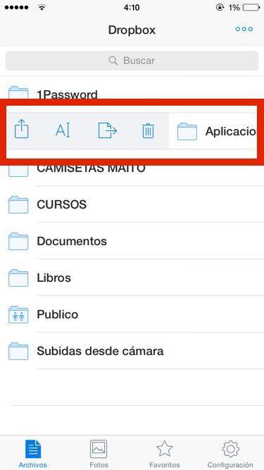 Renombrar archivos y carpetas en Dropbox