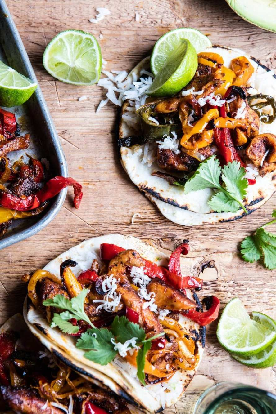 Sheet Pan Poblano Chicken Fajitas from Half Baked Harvest. Adding these to my weekly dinner menu next week!