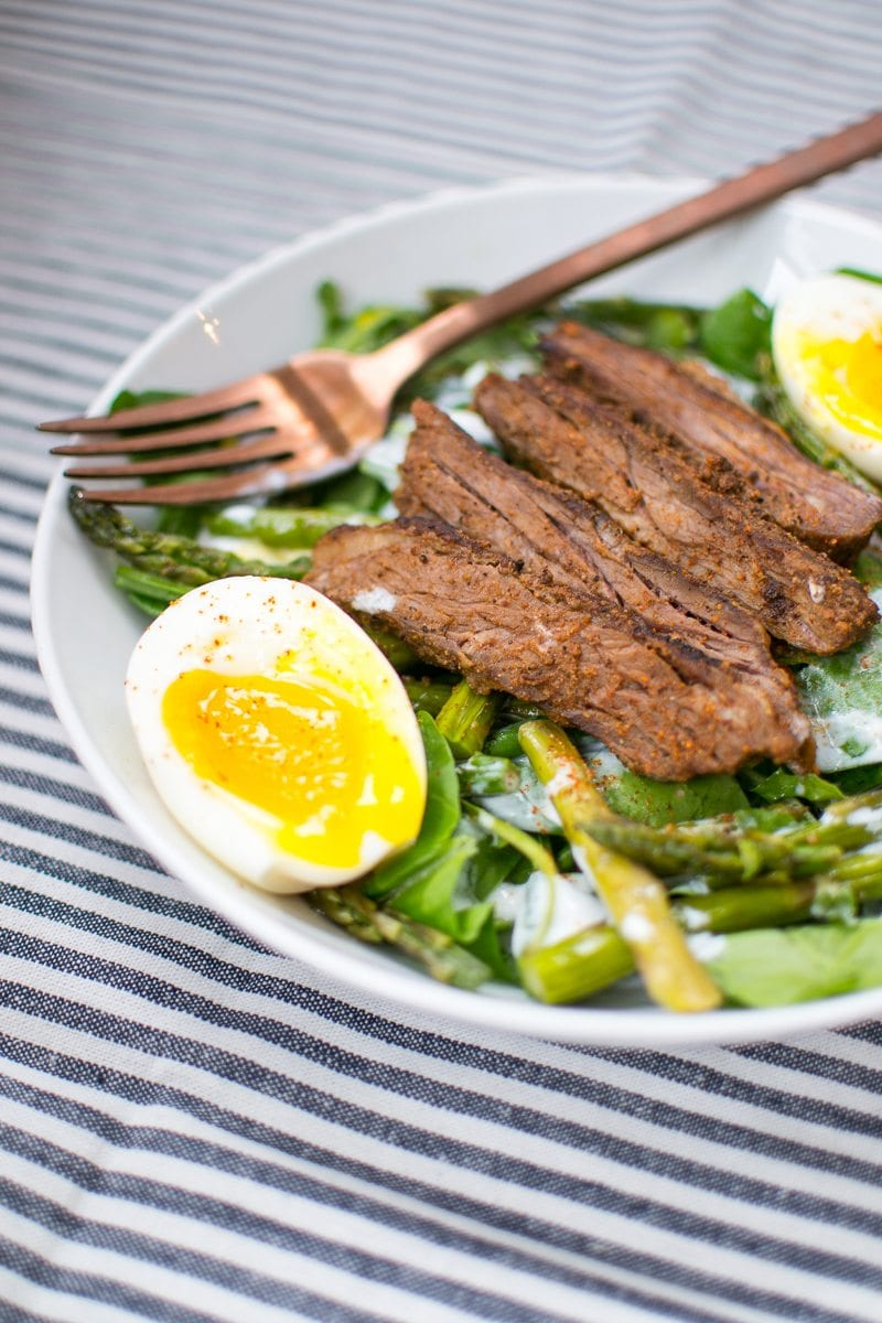 spring steak salad with soft boiled eggs - Appetites Anonymous