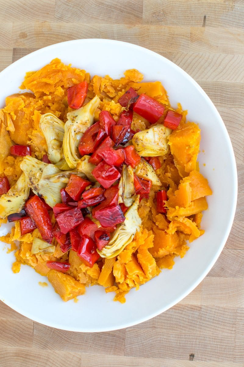 sweet potato smash bowls with veggies and eggs | Appetites Anonymous