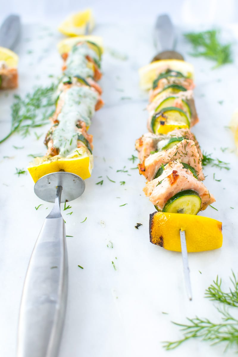 dill salmon and zucchini kebabs   Appetites Anonymous