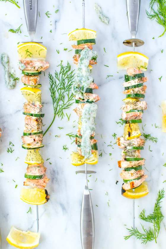dill salmon and zucchini kebabs | Appetites Anonymous