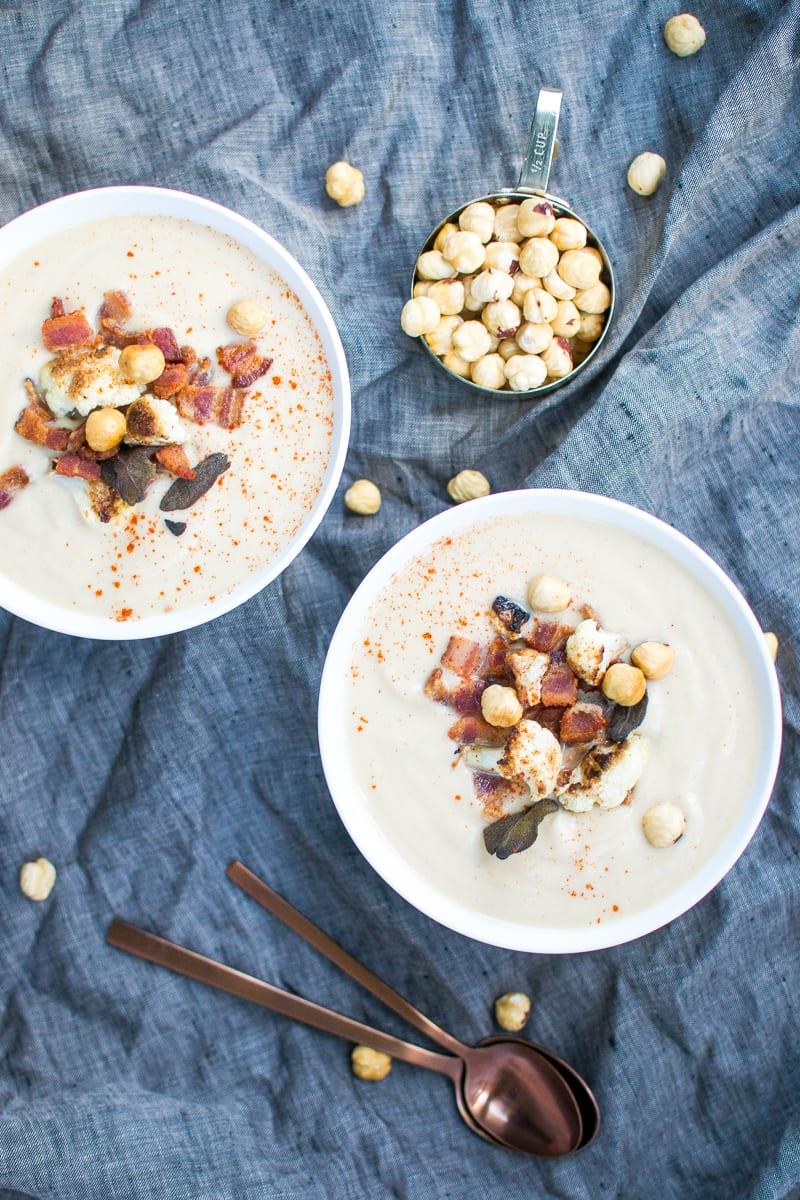 creamy cauliflower hazelnut soup (dairy free!!) - Appetites Anonymous
