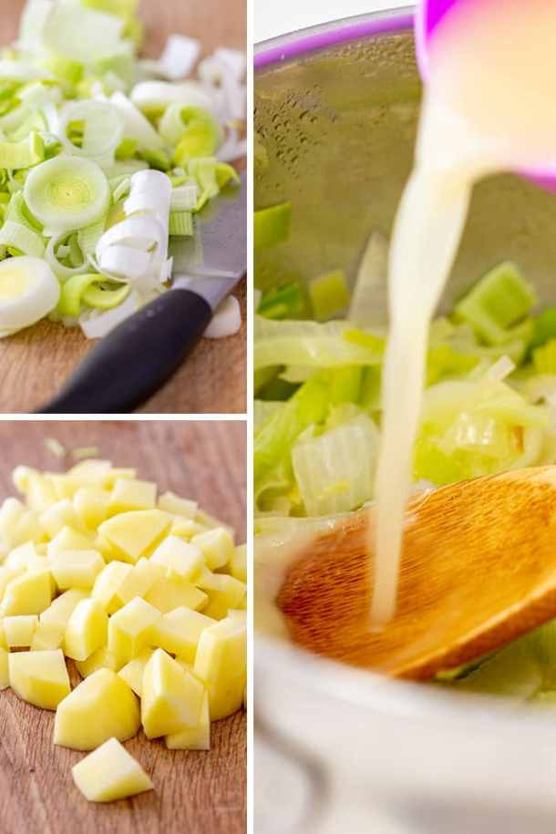 How to Make Potato Leek Soup Shooters Picture Collage