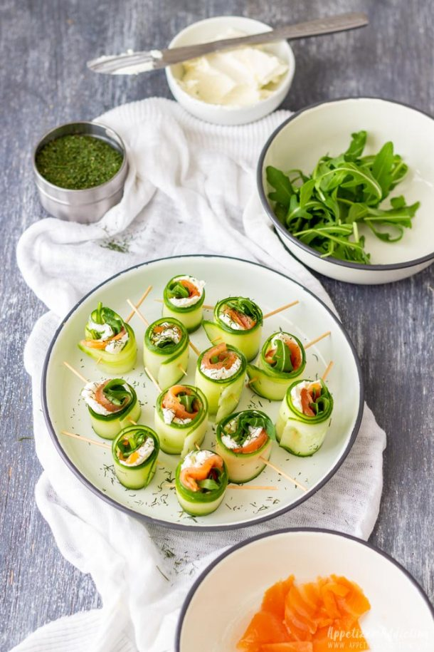 Smoked Salmon Cucumber Rolls Canapes