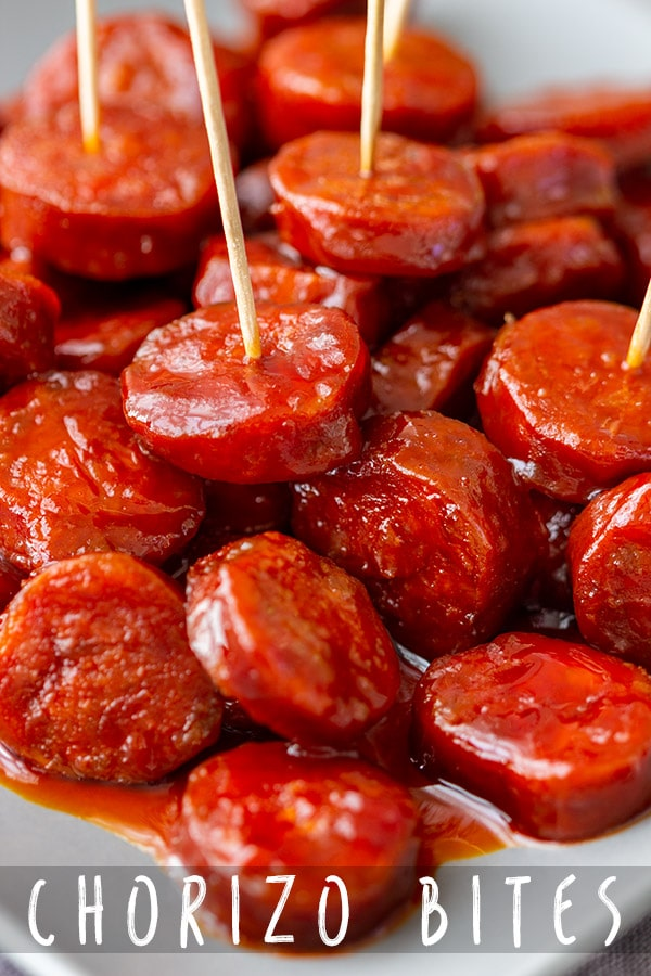 This is an easy recipe for chorizo bites. Glazed in sticky beer sauce this Spanish chorizo sausage appetizer can be enjoyed either warm or cold! #appetizeraddiction #chorizo #appetizers #recipe #sausage #party #food
