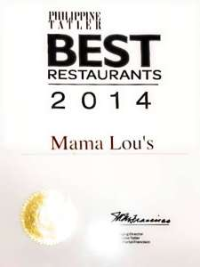 Mama Lous Italian Kitchen Philippine Tatler Recognition
