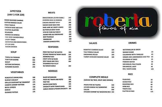 Roberta Flavors of Asia Menu 2015