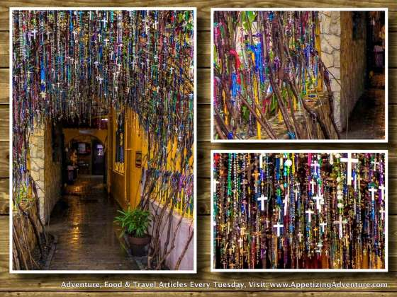 padre pio chapel rosaries on wall and ceiling