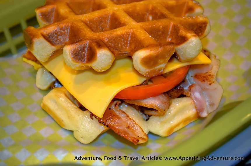 Bacon, Tomato, and Cheese Waffle Php145