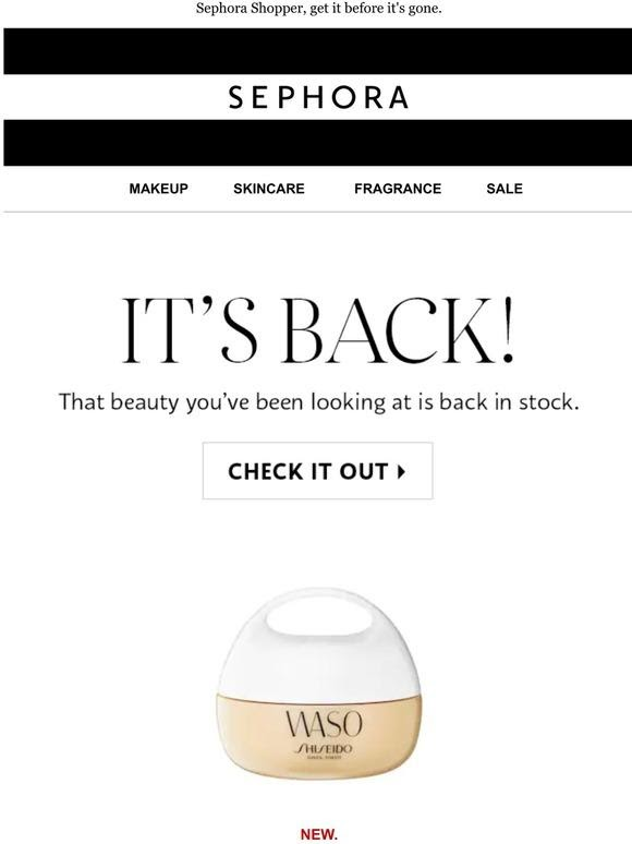sephora back in stock email notification