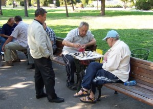 chess game in a park