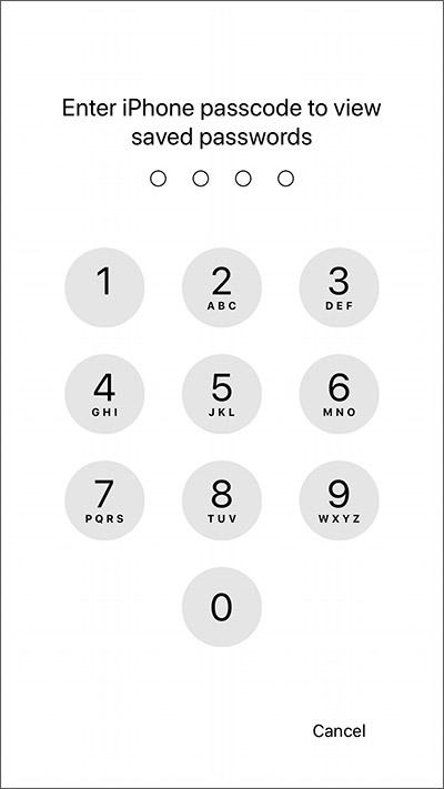 مشاركة كلمات المرور iOS 12