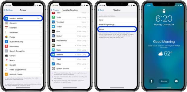 إضافة الطقس إلى شاشة قفل هاتف iPhone