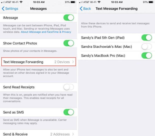 الرسائل النصية القصيرة SMS على iPad وحواسب macOS