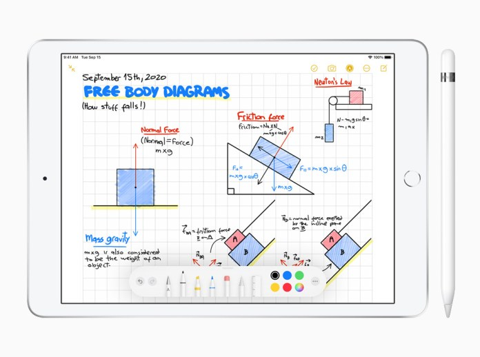 iPad  (eighth-generation) with Apple Pencil showing Notes app.