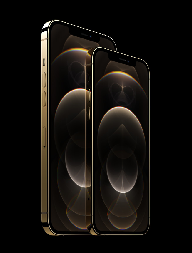 iPhone 12 Pro and iPhone 12 Pro Max model the gold stainless steel finish.