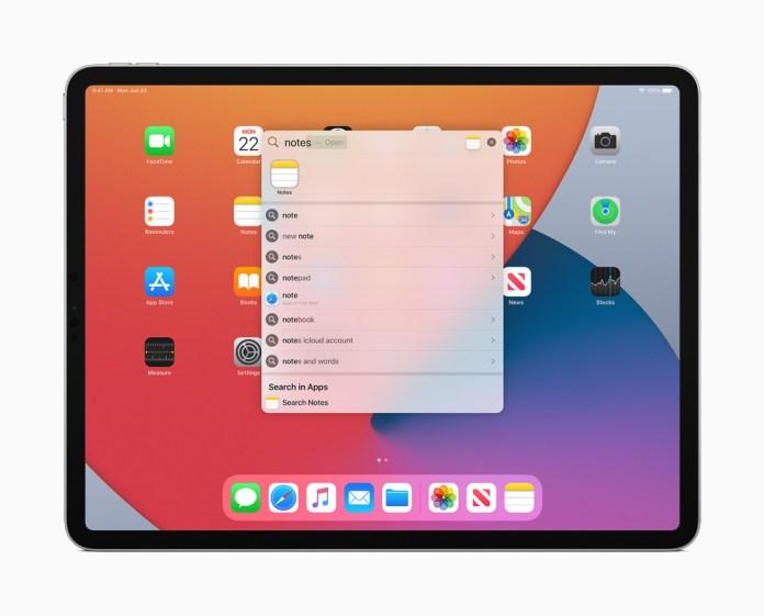 Universal Search visualizzata su iPad Pro.